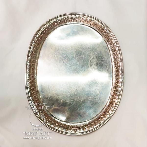 Антикварный серебряный Поднос
