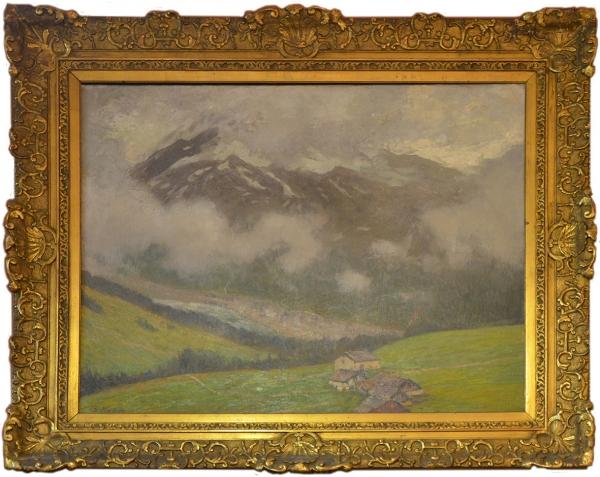 """Немецкий художник Ойген Кампф (1861 - 1933) """"Горные хижины в Савойских Альпах"""""""