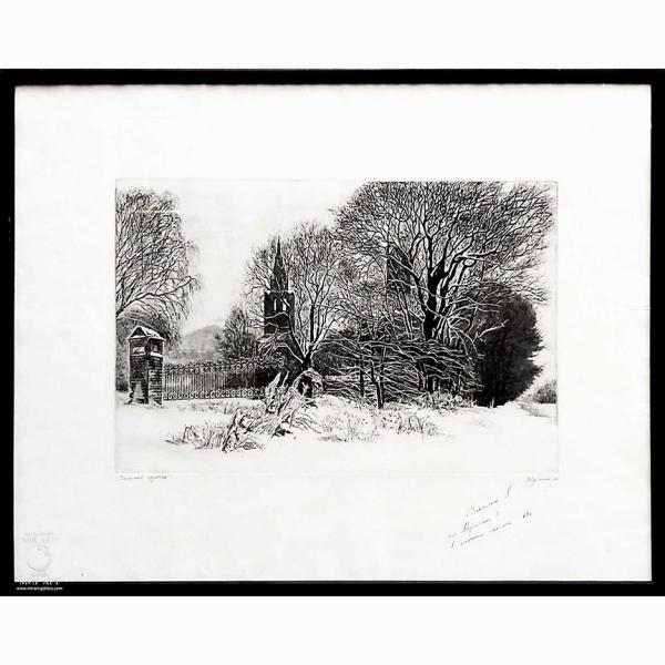 русский советский художник Владимир Корчагин (1946 - 2002 г.г.) «Зимняя грусть»