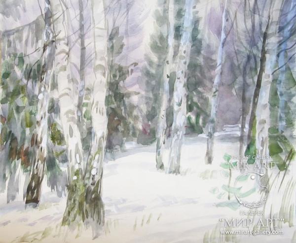 """Soviet and Russian artist-painter Viktor Konstantinovich Dmitrievsky (1923 - 2006) """"Birches"""""""