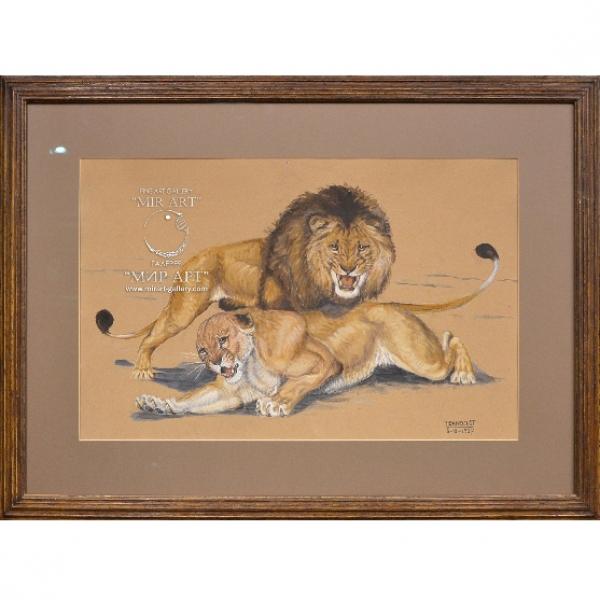 Дандело Пьер (1908-2007) «Пара львов и пара гепардов»