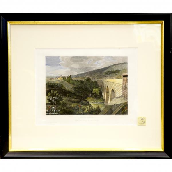 Итальянский художник Доменико Амичи (р. 1808 - ...) «Новый мост, между Галлоро и Джензано» из серии «Виды Рима»