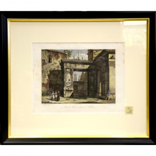 Итальянский художник Доменико Амичи (р. 1808 - ...) «Арка Септимия Севера в Велабро» из серии «Виды Рима»