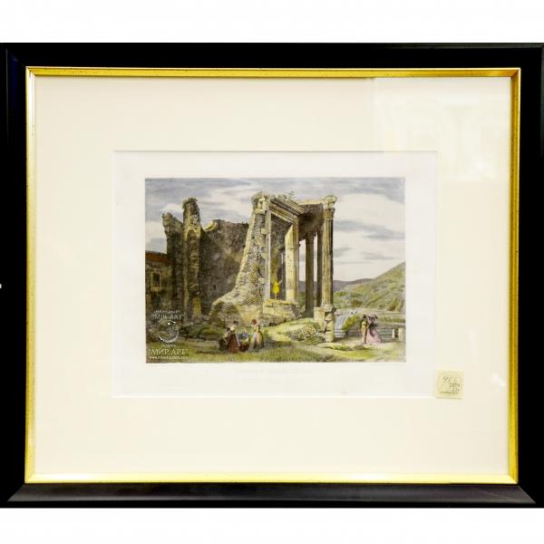 """Итальянский художник Доменико Амичи (р. 1808, Риме - ...)  """"Храм Геркулеса Сассано, называемый Делла Сирлла"""" из серии «Виды Рима»"""