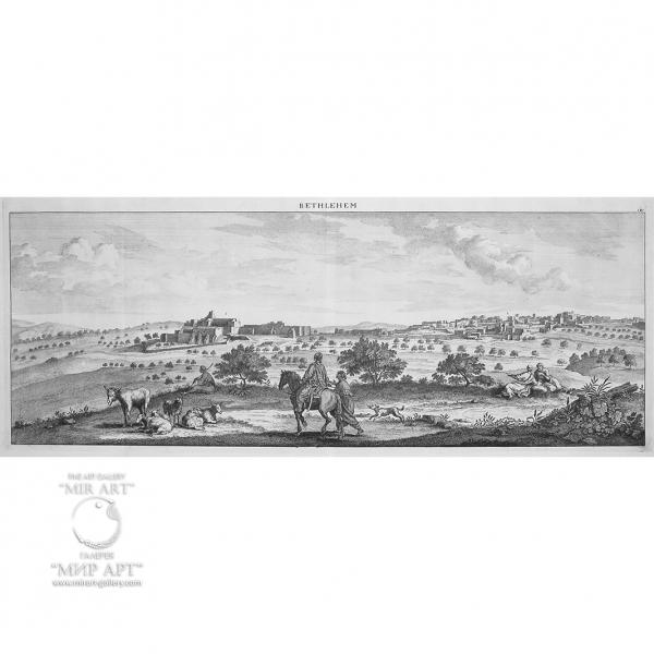 Антикварная гравюра «Святая Земля - Вифлеем» (Bethlehem - обзорный вид).