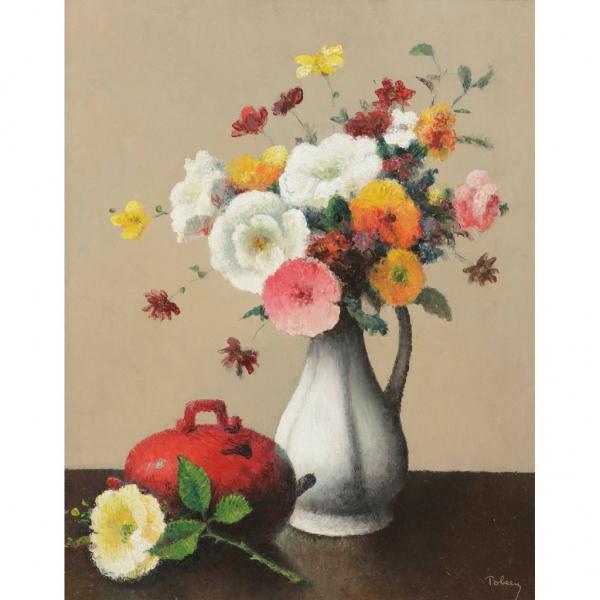 """Французский живописец и гравер Тобеен (Феликс Эли Бонне) (1880 - 1938) """"Белая ваза и красный сотейник"""""""