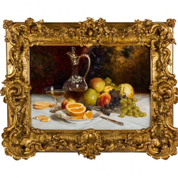 «Натюрморт с графином вина, печеньем и фруктами»