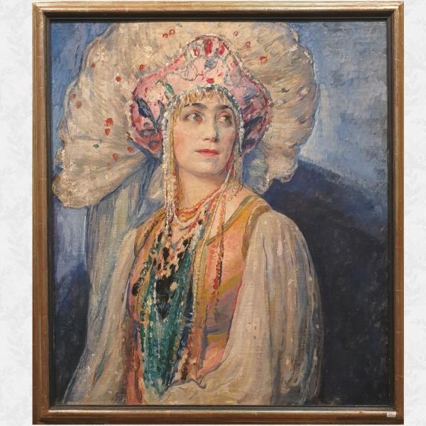 Бельгийский художник Альфред Мойтрукс (1886-1938) «Портрет молодой русской девушки в традиционной одежде»
