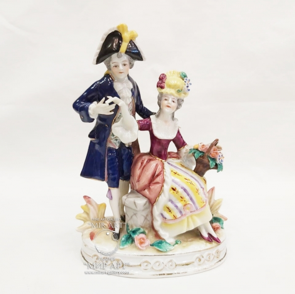 """Antique porcelain sculptural composition """"Gallant couples on an oval base"""" from the """"Six Figures"""" series"""