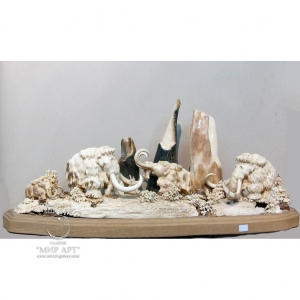 """Sculptural composition from mammoth tusk """"Mammoth family"""""""
