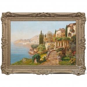 "Austrian artist Gottfried Arnegger (1905, Austria, Vienna -? Years) ""On the Coast, Capri"""