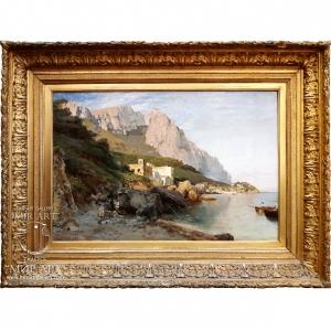 "German artist Karl Wutke (1849, Trebnitz, Posen Province, Prussia - 1927, Munich), Germany ""On the Coast, Capri"""