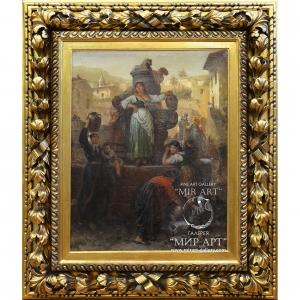 """Австрийский художник Алоис Шён (1826—1897) """"У колодца в средиземноморском городе"""""""