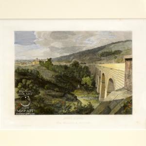 "Italian artist Domenico Amici (b. 1808 - ...) ""new bridge, between galloro and genzano"" from the series ""Views of Rome"""