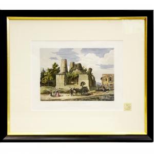 """Итальянский художник Доменико Амичи (р. 1808, Риме - ...) """"Гробница Арунте, известная как Оразж и Куриазж"""" из серии «Виды Рима»"""