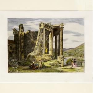 """Italian artist Domenico Amici (b. 1808, Rome - ...) """"Temple of Hercules Sassano, called Della Searlla"""" from the """"Views of Rome"""" series"""