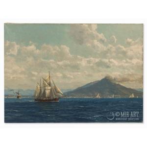 Парусное судно в заливе Неаполя на фоне  дымящегося вулкана Везувий