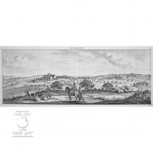"Antique engraving ""Holy Land - Bethlehem"" (Bethlehem - overview view)."