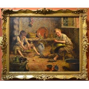 """Бельгийский художник Пьер Жак Диркс (1855-1947) """"Помощники на кухне"""""""