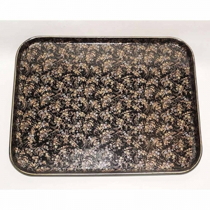 Floral decorated lacquered tray