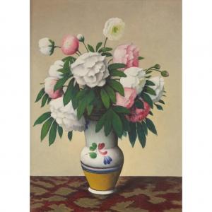 """Французский живописец и гравер Тобеен (Феликс Эли Бонне) (1880 - 1938)  """"Натюрморт с пионами в вазе"""""""