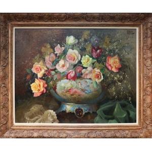 """Испанский художник Рафаэль Гонсалес Саенц ( 1903-1962) """"Натюрморт с розами"""""""