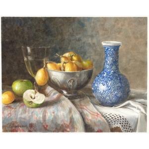 Олег Степанович Лавренюк (род. 1966 г.) «Натюрморт с синей вазой и фруктами»