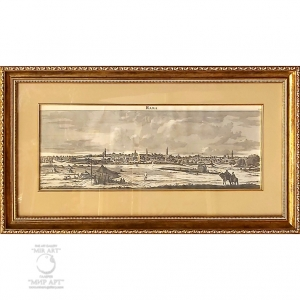 """Modern copy of the antique engraving """"Holy Land - Ramallah"""" (Rama - overview view)."""