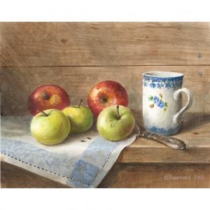 «Яблоки и бокал с незабудками»