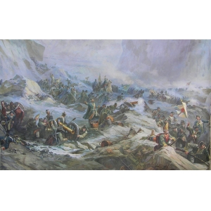 """""""General sketch the central part of the diorama """"Alpine campaign of A. V. Suvorov"""" - """"Moment of the battle at the Devil's Bridge"""""""