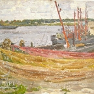 "Moscow artist Vasily Alexandrovich Paramonov (1923 - 2006) ""Fishing nets"""